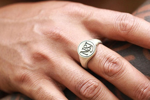 Custom Carved Silver Signet Rings Birthday Gifts