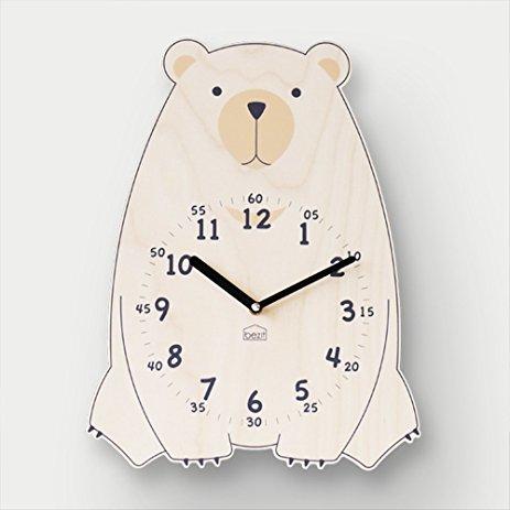 Cute Brown Bear Wall Clock