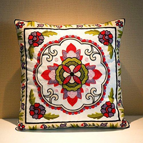 Embroidered Cotton Throw Pillow Cover