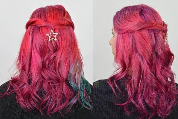 Colored Balayage Feathered Haircut