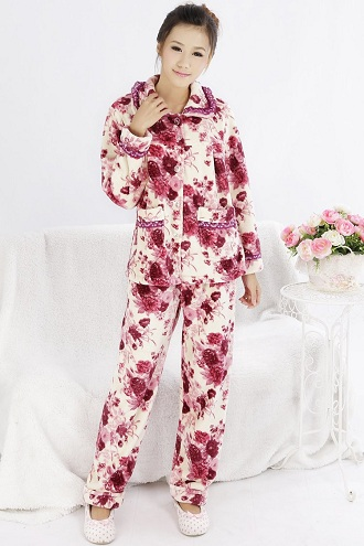 Floral Printed Two Pockets Red Pajama Set