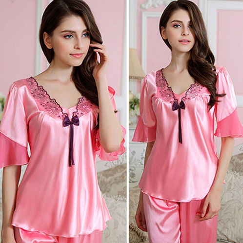 dda4179536 Discover the best silk pajamas for girls that are too sot sexy in  appearance. These pajama sets are embellished with lace appliques at the  chest front and ...