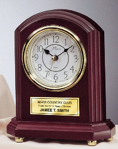 Gold Plate Engraved Desk Clocks