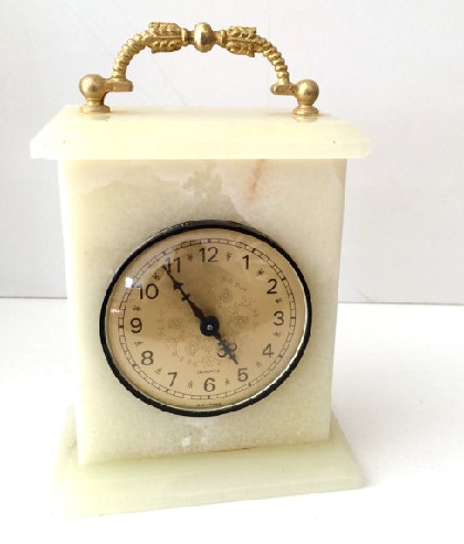 Golden Handle Marble Desk Clocks