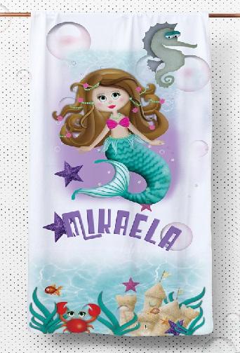Green Mermaid Girls kids Towels