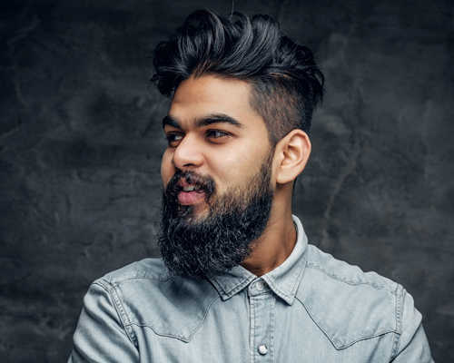 Studio Portrait of Stylish Bearded Indian Man