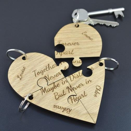 Heart Shaped Jigsaw Key-Rings