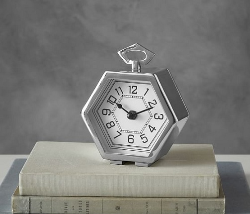 Hexagonal Shaped Silver Desk Clocks