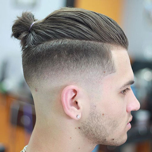 High Skin Fade with Top Knot