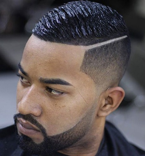 High Taper Fade with Wave Cut and Hard Part