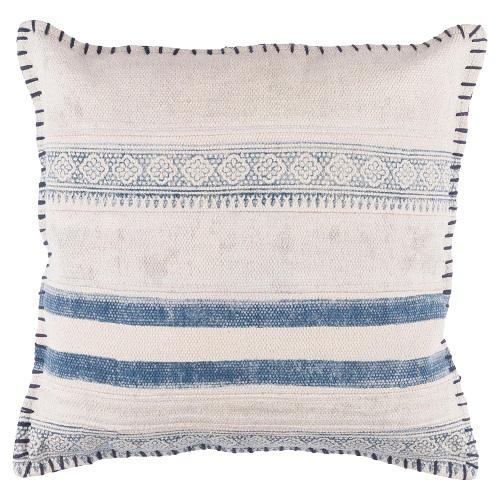Ivory Shibori Blue Pillow