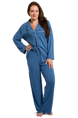 Jersey Fabricated Plain Pajama Set