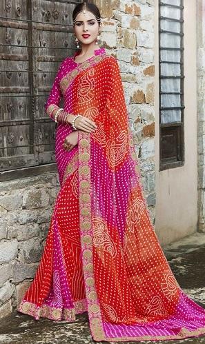 Red silk gota patti work saree Bandhej saree jaipuri sari saree bloue