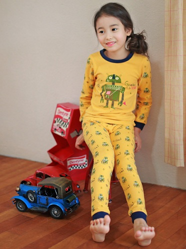 Kid's Yellow Pajama with Robot Design