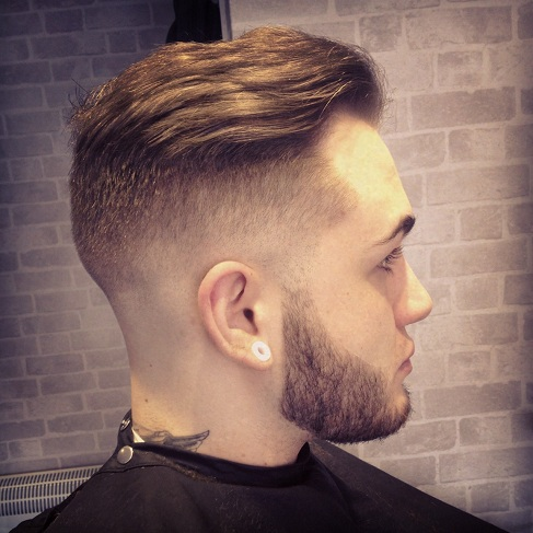 Long Fohawk with High Undercut Fade and Beard