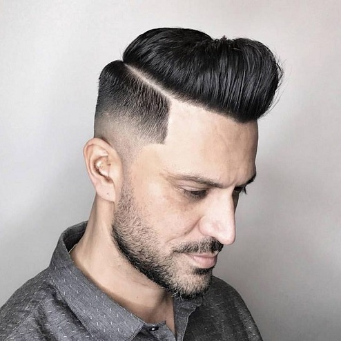 Mid Fade with Hard Side Part