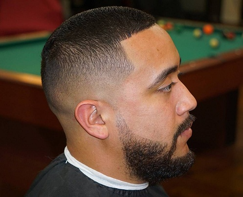 Mid Fade with Line up Haircut