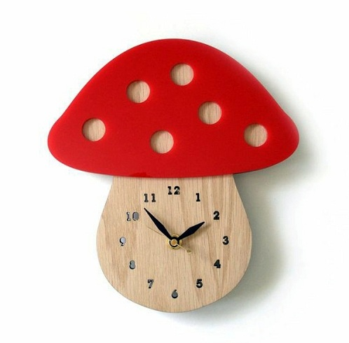 Mushroom Shaped Wooden Designer Clock