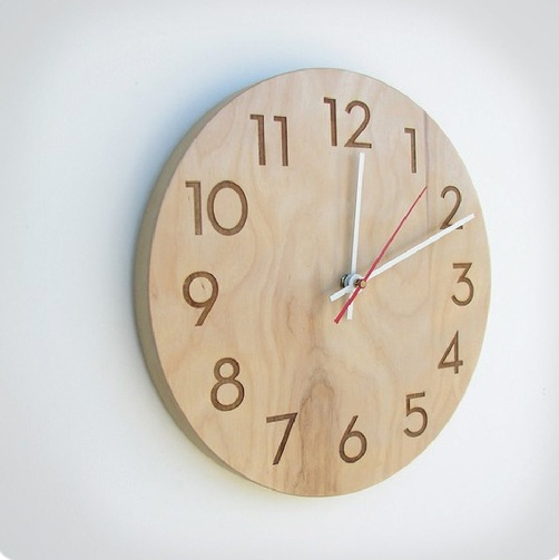 Natural Birch Handmade Modern Wall Clock