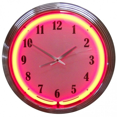 Neon Kitchen Clock