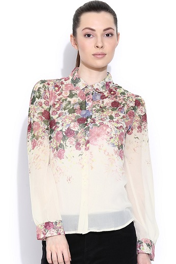 Off White Floral Printed Shirt