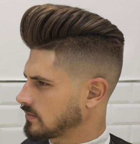 Parted Pompadour with Skin Fade