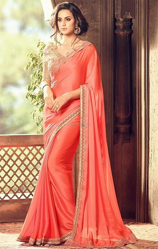75eb01b162f065 Get ready to sizzle in this gorgeous Peach plain saree. The pure chiffon  saree gives an amazing look and drapes like a dream. It is embellished with  a high ...