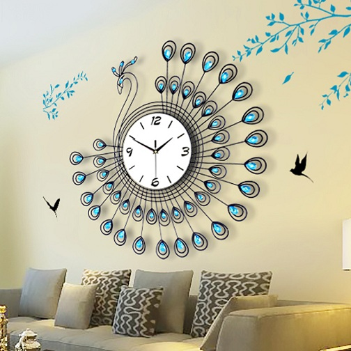 Peacock Designed Large Designer Clocks