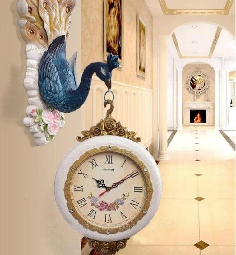 Peacock Double Sided Wall Clock