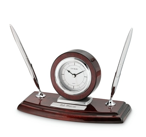 Pen Stand Silver Desk Clocks