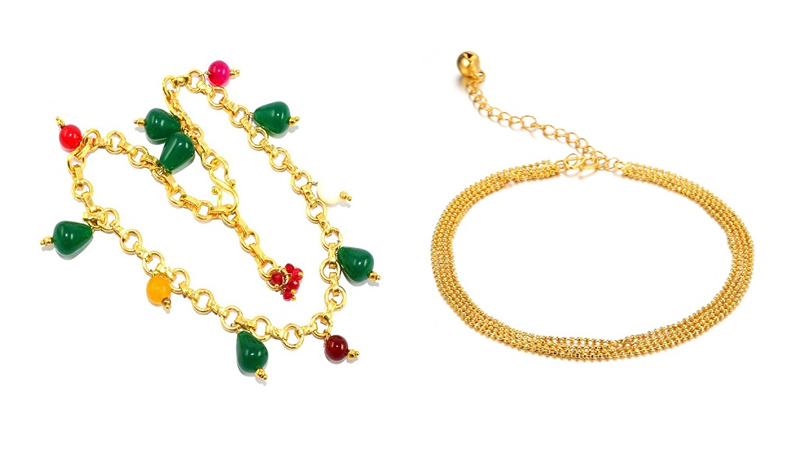 Gold Plated Anklets Designs