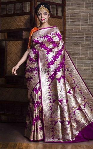 3e055d8fdb50c When the classiness of Purple is combined with the richness of Banarasi  weave