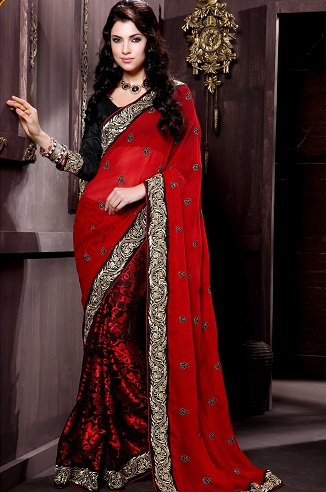 95b2a9027a You can opt for this red-black latest designer half-half saree as a party  wear. It has a gorgeous golden border. The pallu is a red georgette texture  piece ...