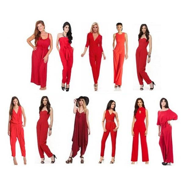 Red Jumpsuits with Sleeves and Sleeveless