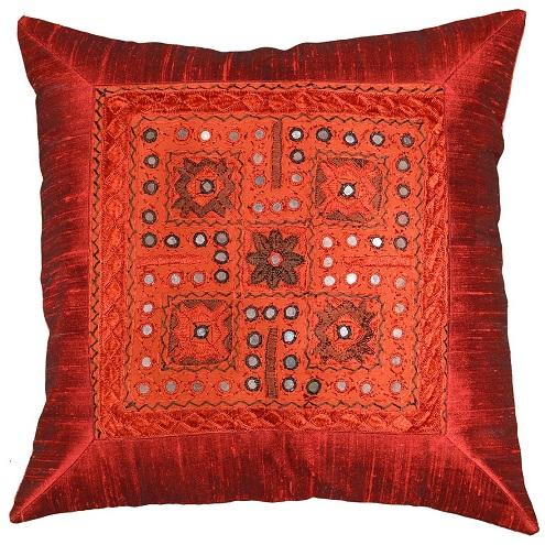 Red Silk Decorative Pillows