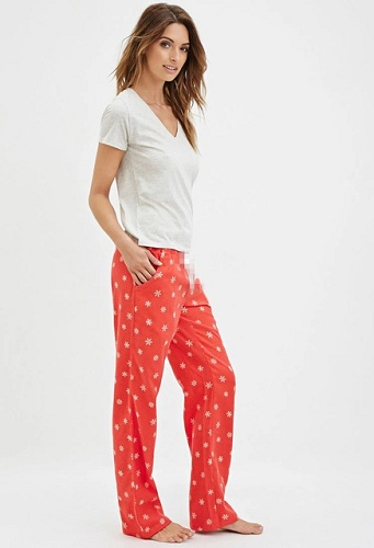 Red Snow Cotton Pajamas for Women