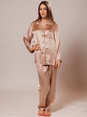 9f006f442500 This luxury long silk pajama for women defines softness and comfort. You  can feel the quality of the amazingly cool silk material in long sleeves.