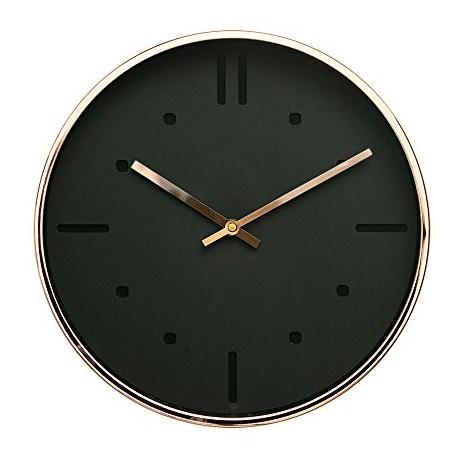 Scandinavian Black and Rose Gold Modern Wall Clock