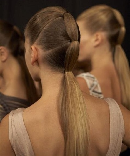 Sectioned Long Ponytail Hairstyles