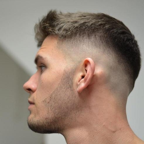 Short Haircut with Mid Drop Fade