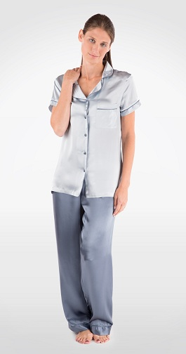 Short Sleeved Grey Pajama Set