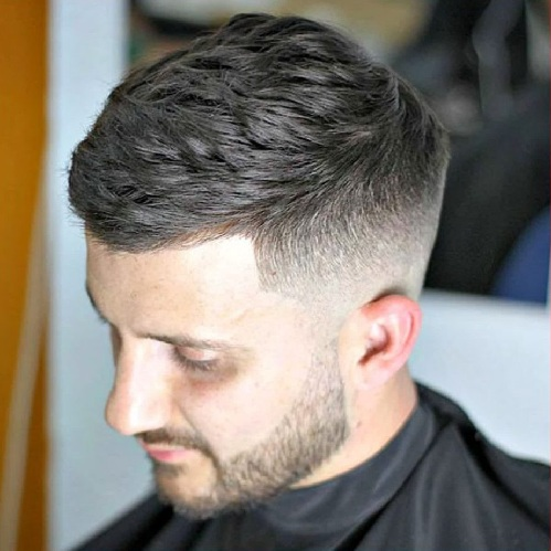 Side Swept Cropped Haircut with Low Fade