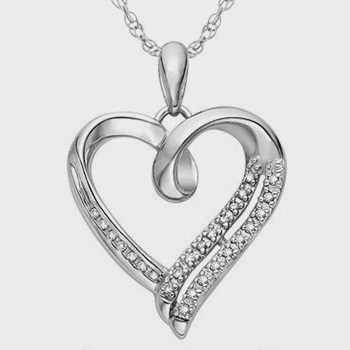 Silver Round Diamond in Heart Pendant