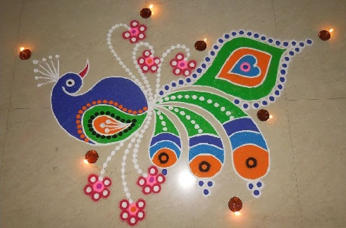 Simple Peacock Rangoli for Diwali