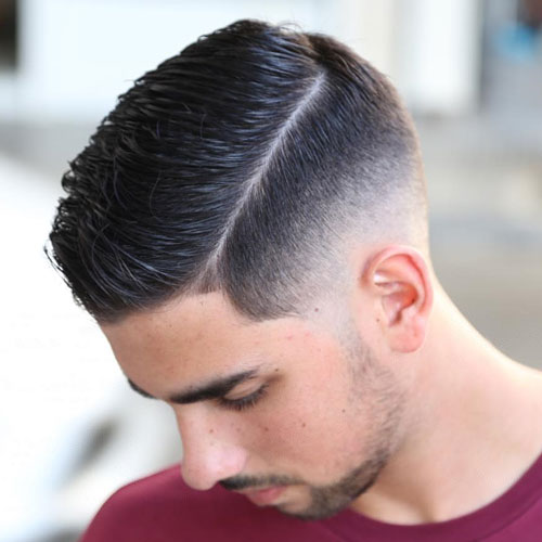 Slicked Hard Side Part with High Fade