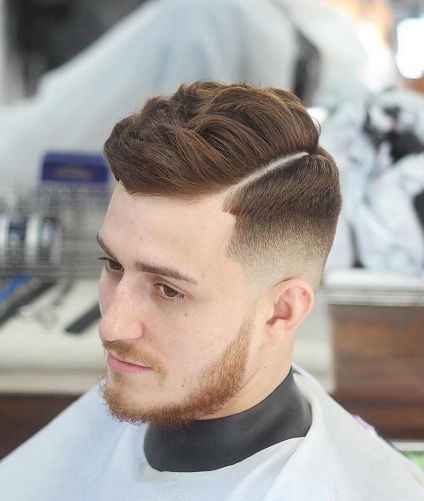 Textured Curly Hair with Fade and Part
