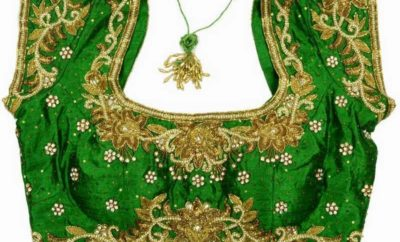 Traditional Light and Dark Green Blouse Designs