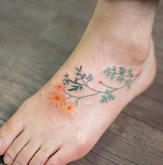 Flower Tattoo Design on Feet
