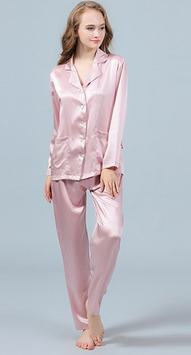 9581b30245 Get the best of the collection of two-piece pink silk pajamas. It has V- neckline with notched collar. The long sleeves are combined with two sided  pockets ...