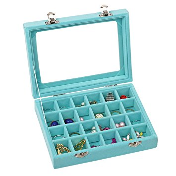 Velvet Glass Jewelry Ring Display Organiser Box